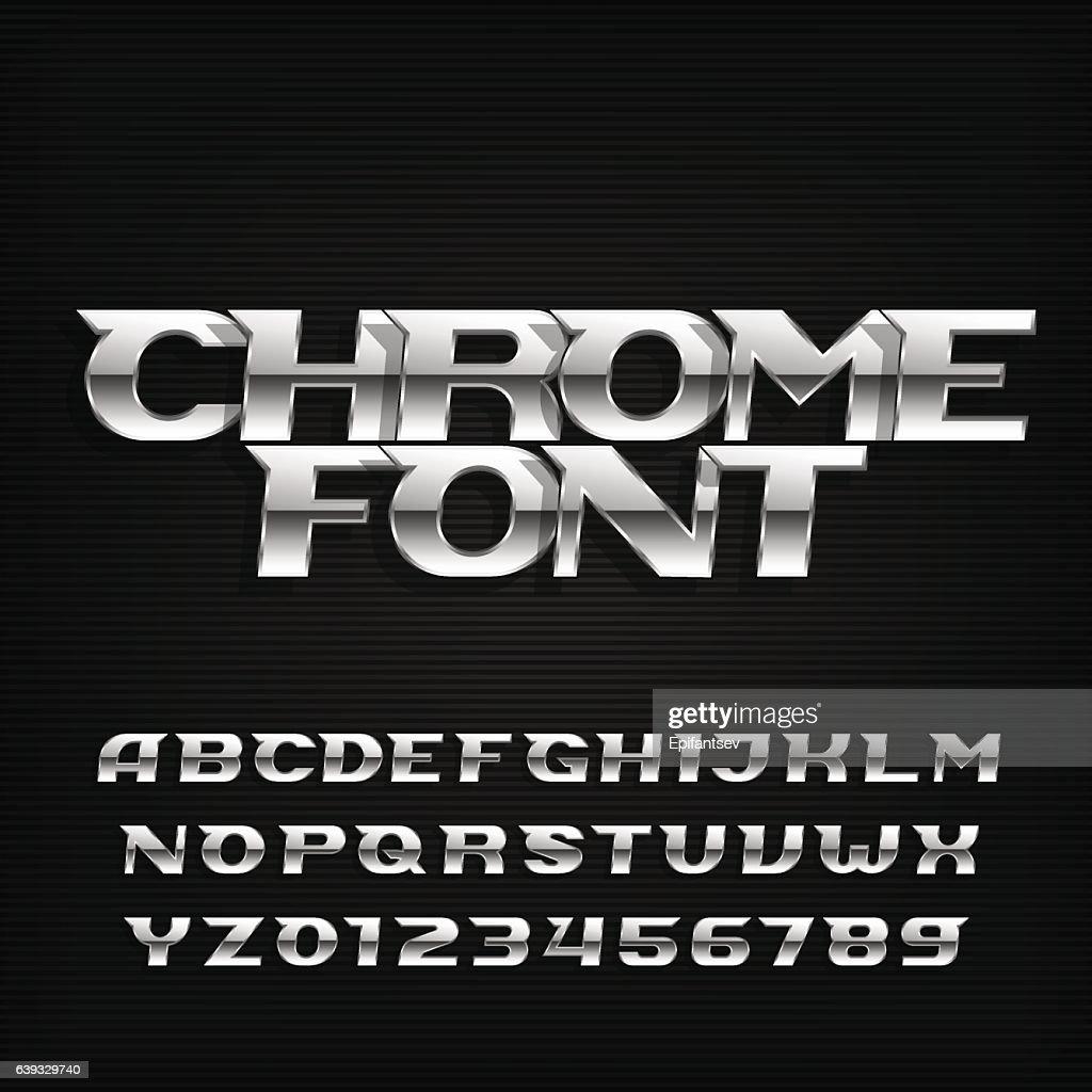 Chrome alphabet font. Metallic effect italic letters.