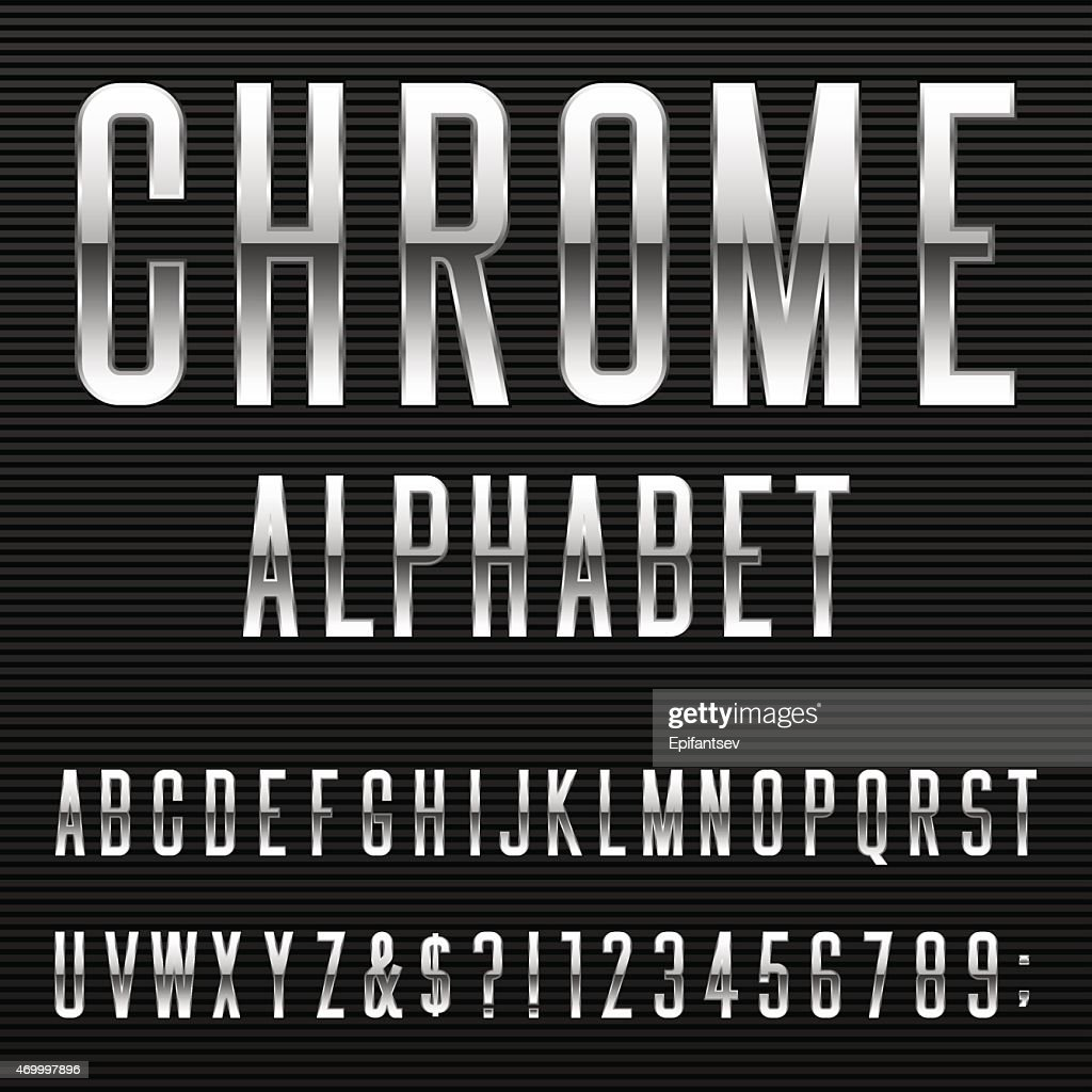 Chrome Alphabet Vector Font