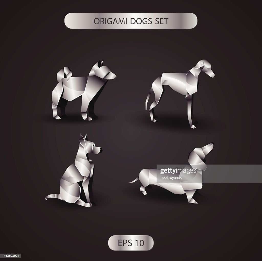 chrome origami dogs set