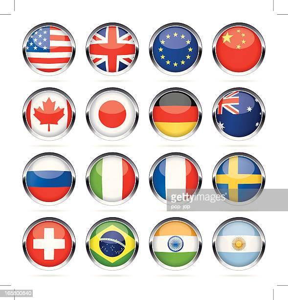 Cromo redondo bandera más popular iconos