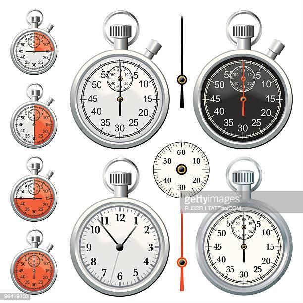 ilustraciones, imágenes clip art, dibujos animados e iconos de stock de cronómetro de cromo - reloj de bolsillo
