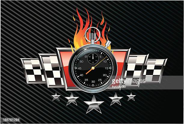 ilustrações, clipart, desenhos animados e ícones de emblema chrono corrida - cronômetro instrumento para medir o tempo