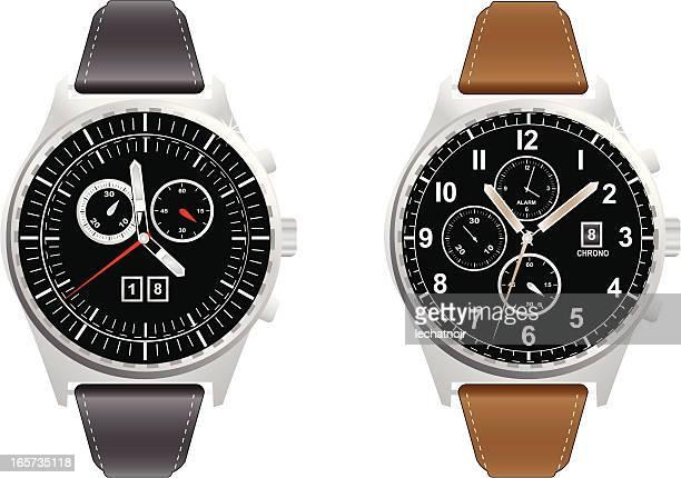 ilustrações, clipart, desenhos animados e ícones de cronógrafo watch - relógio de pulso
