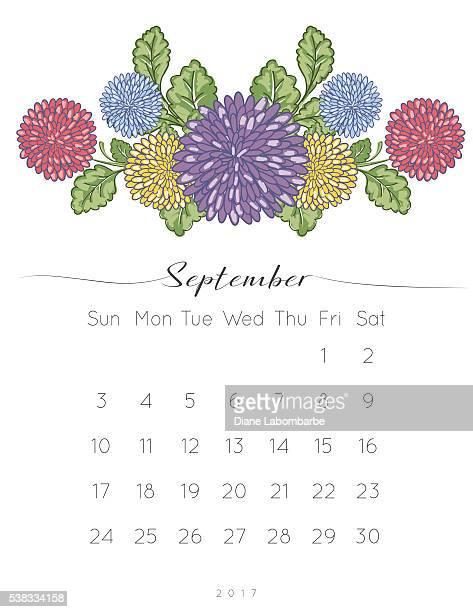 2017 chrysanthemum floral desk pad calendar - monthly event stock illustrations