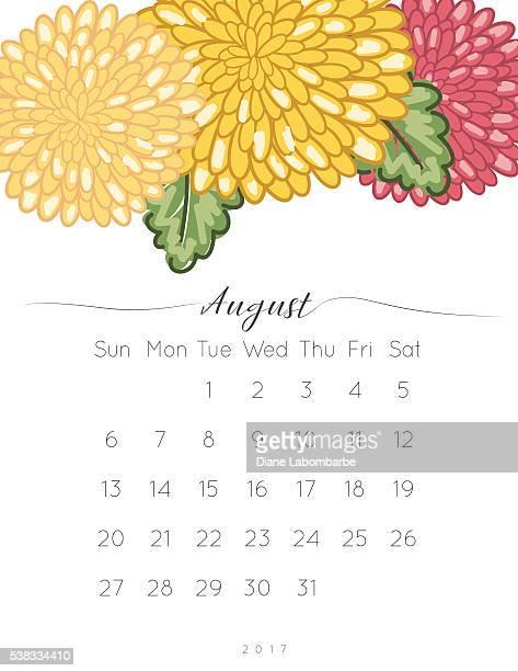 Crisântemo de 2017 Floral botão Calendário de secretária