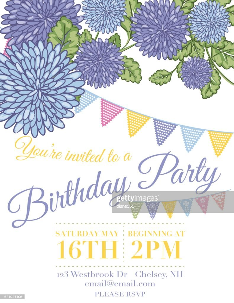 Chrysanthemum Papel Picado Flags Birthday Invitation Template Vector