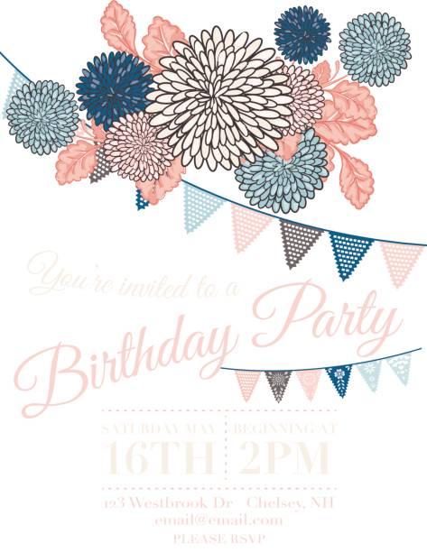 chrysanthemum papel picado flags birthday invitation template - femininity stock illustrations