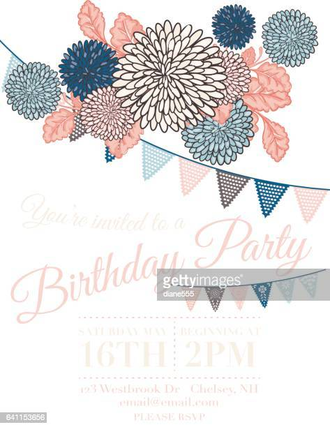 chrysanthemum papel picado flags birthday invitation template - happy birthday banner stock illustrations