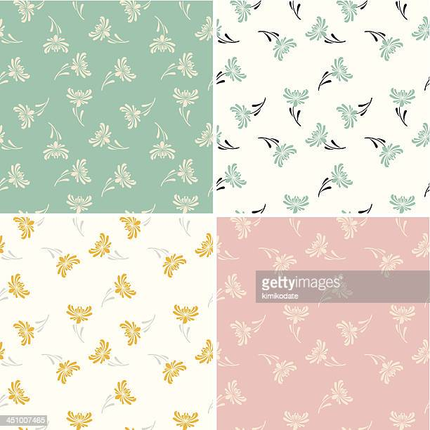 chrysanthemum seamless pattern set - single flower stock illustrations
