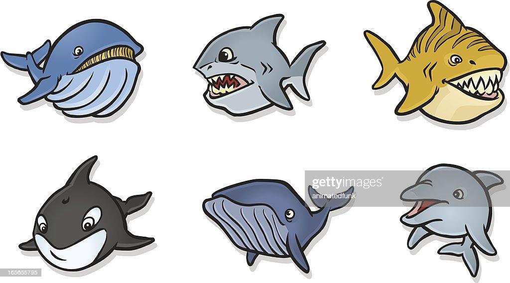 Chubby Fish Icons : stock illustration