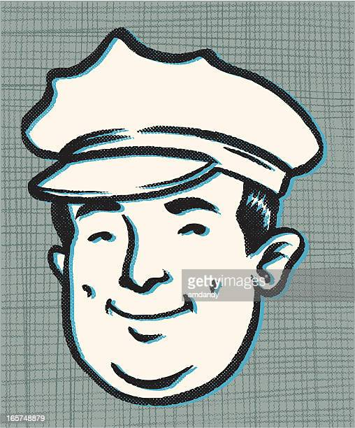chubby law enforcement - uniform cap stock illustrations