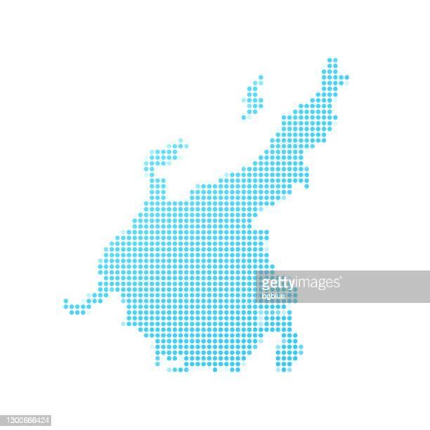 chubu map in blue dots on white background - tokai region stock illustrations
