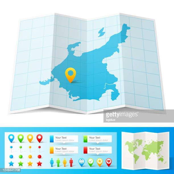 chubu map with location pins isolated on white background - tokai region stock illustrations