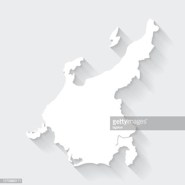 chubu map with long shadow on blank background - flat design - tokai region stock illustrations
