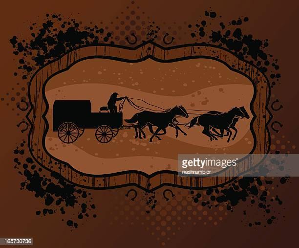 chuckwagon racing on grunge background - horse cart stock illustrations, clip art, cartoons, & icons