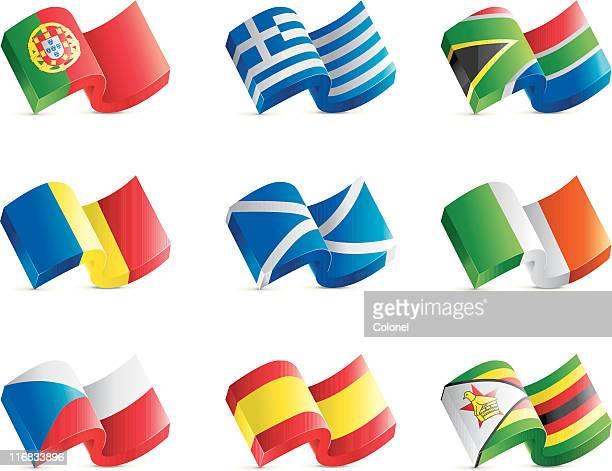 ilustrações, clipart, desenhos animados e ícones de robusto bandeira ícones em 3d - zimbabwe