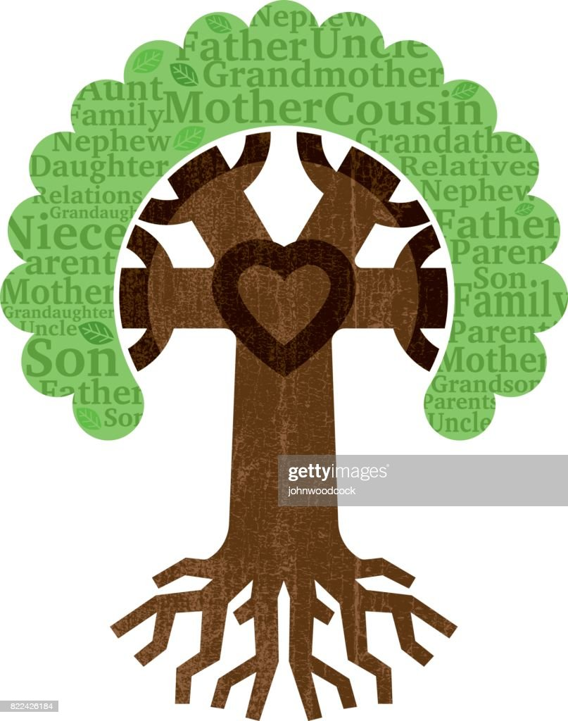 Chunky family tree roots illustration : stock illustration