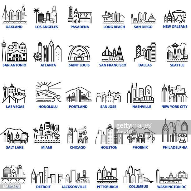 chunky style us cityscapes - atlanta stock illustrations, clip art, cartoons, & icons