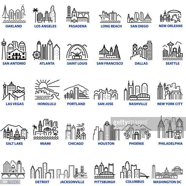 chunky stil u.s. stadtansichten - stadtsilhouette stock-grafiken, -clipart, -cartoons und -symbole