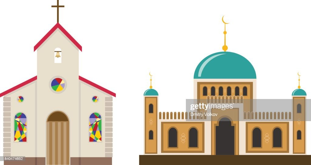 Church and mosque.