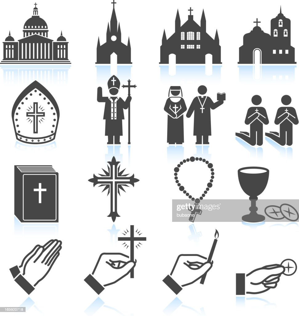 Church and Religious black & white vector icon set