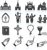 Church and Religious black & white vector icon set