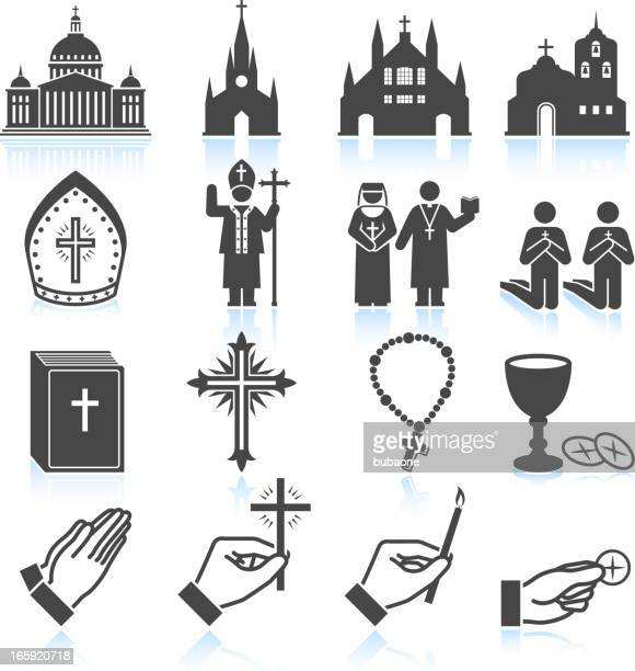 church and religious black & white vector icon set - catholicism stock illustrations