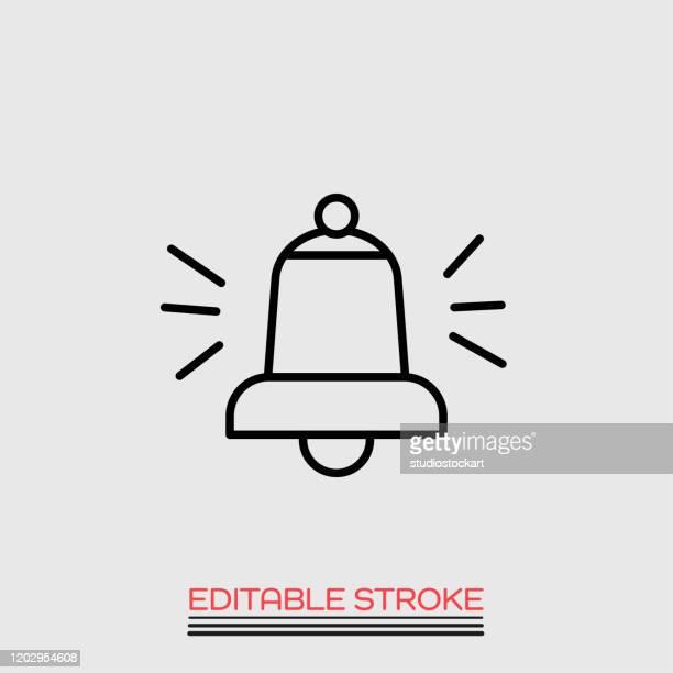 ilustrações de stock, clip art, desenhos animados e ícones de church bell ringing line icon illustration. editable stroke - alertness