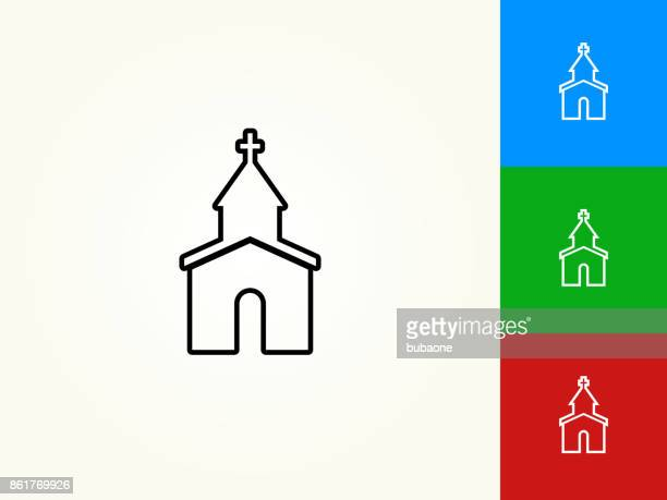 church black stroke linear icon - chapel stock illustrations, clip art, cartoons, & icons