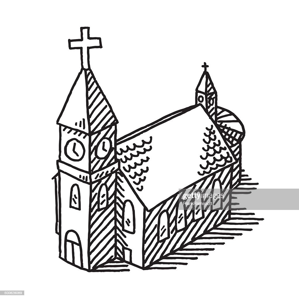 Church building drawing stock vector getty images - Dessin eglise ...