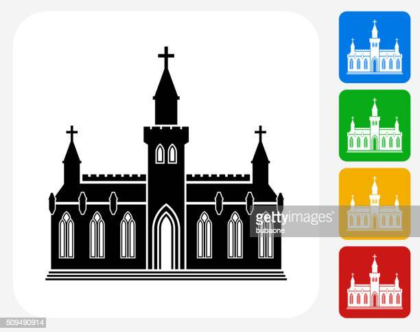 church building icon flat graphic design - steeple stock illustrations, clip art, cartoons, & icons