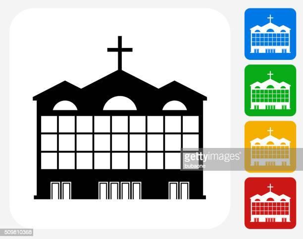 church building icon flat graphic design - spire stock illustrations, clip art, cartoons, & icons
