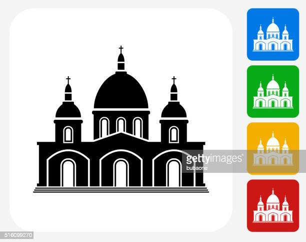 Church Building Icon Flat Graphic Design
