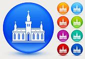 church building icon shiny color circle