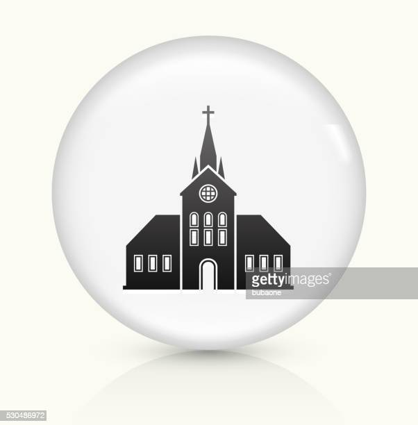 church building icon on white round vector button - chapel stock illustrations, clip art, cartoons, & icons
