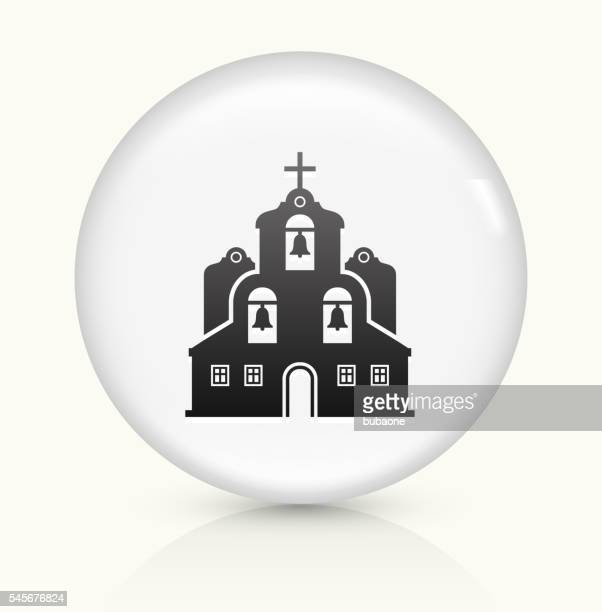 church building icon on white round vector button - spire stock illustrations, clip art, cartoons, & icons