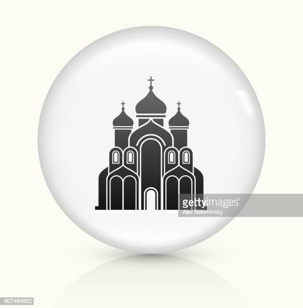 stockillustraties, clipart, cartoons en iconen met church building icon on white round vector button - torenspits