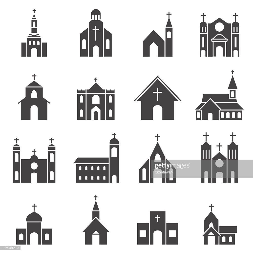 church building icon vector set