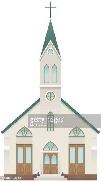 church building icon vector - steeple stock illustrations, clip art, cartoons, & icons