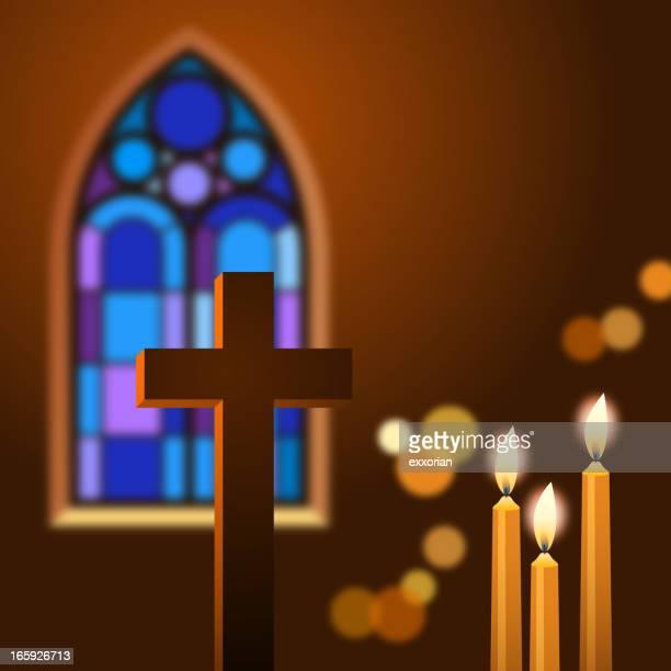 キャンドルと十字架教会 - キリストの十字架点のイラスト素材/クリップアート素材/マンガ素材/アイコン素材