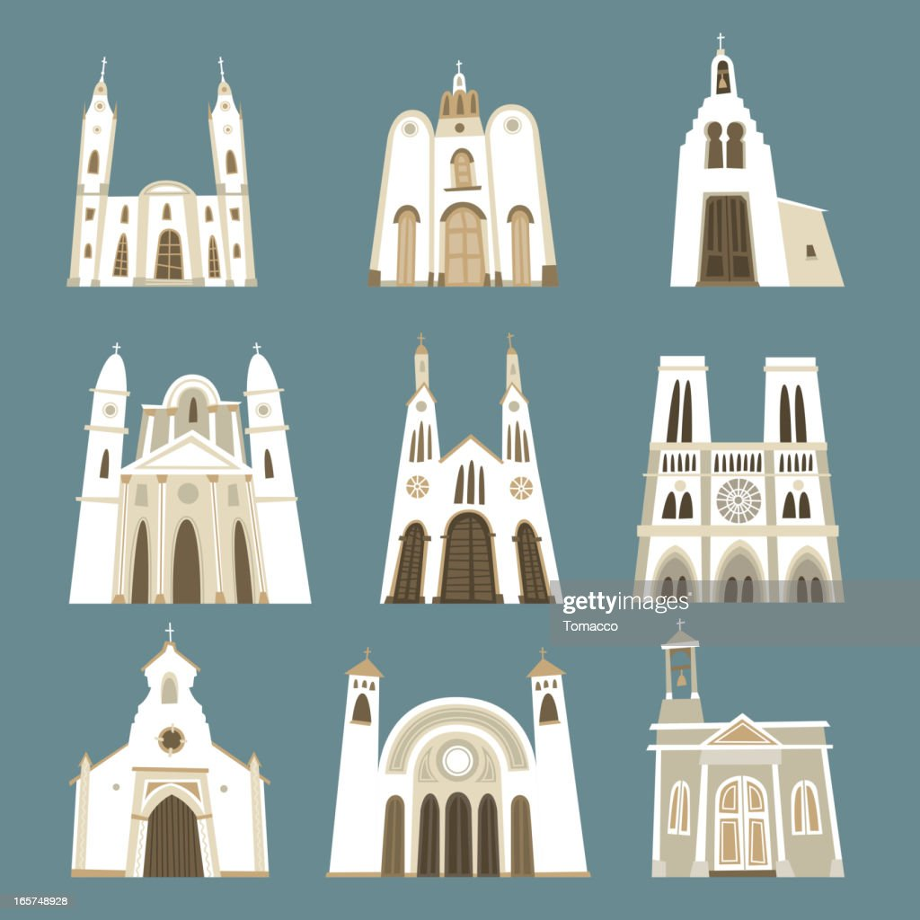 Church cathedral temple oratory chapel basilica sanctuary front view collection