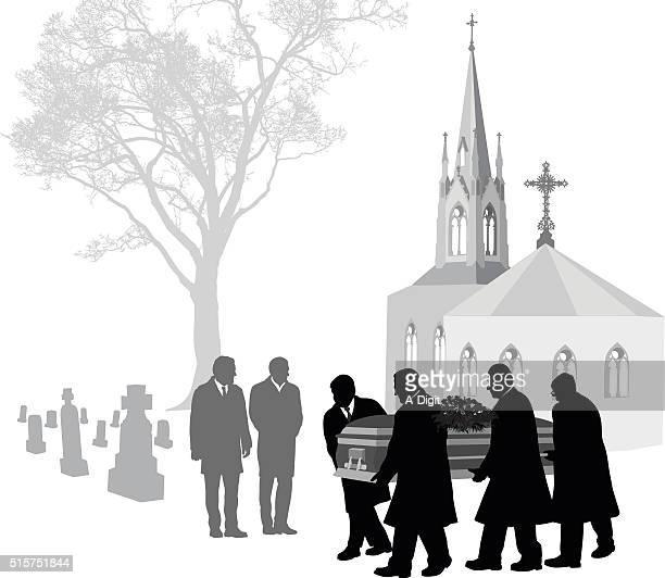 church cemetary - steeple stock illustrations, clip art, cartoons, & icons