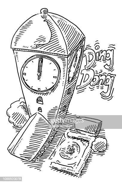 Kirche-Clock-Ding-Dong-Zeichnung