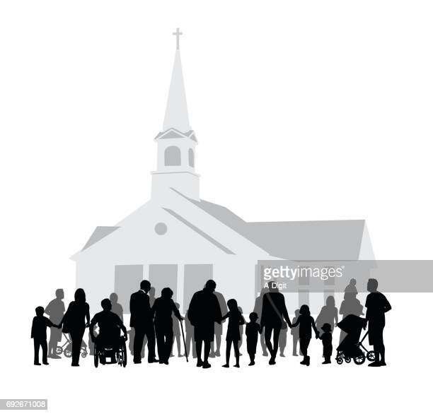 church community gathering - church stock illustrations