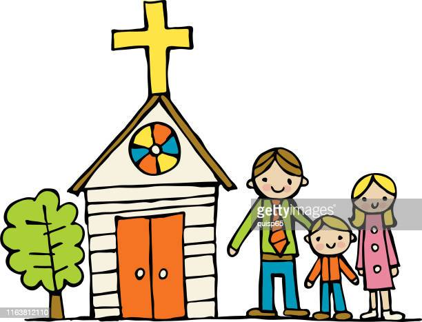 church family - christianity stock illustrations