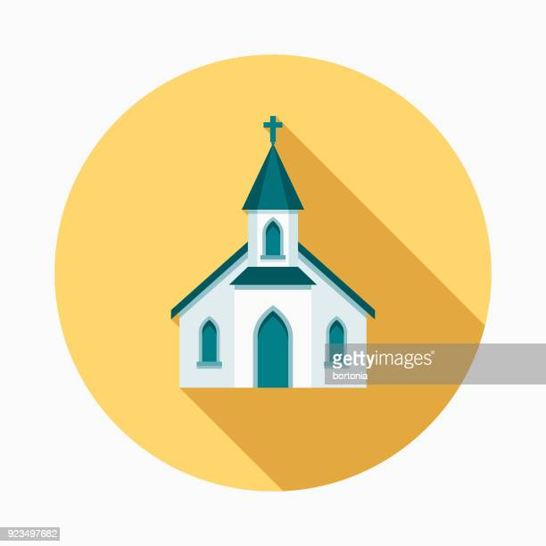 church flat design easter icon with side shadow - church stock illustrations
