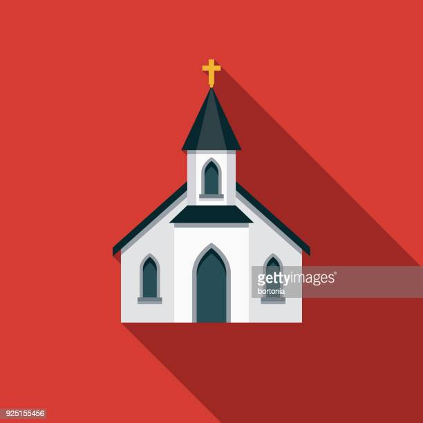 church flat design usa icon with side shadow - steeple stock illustrations, clip art, cartoons, & icons