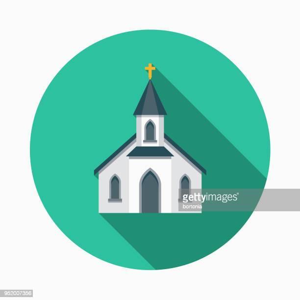 church flat design western icon - steeple stock illustrations, clip art, cartoons, & icons
