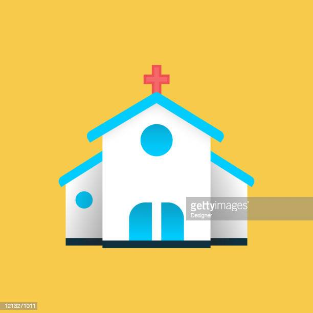 ilustrações, clipart, desenhos animados e ícones de ícone da igreja plana. elemento de design do símbolo da ilustração do vetor plano - chapel