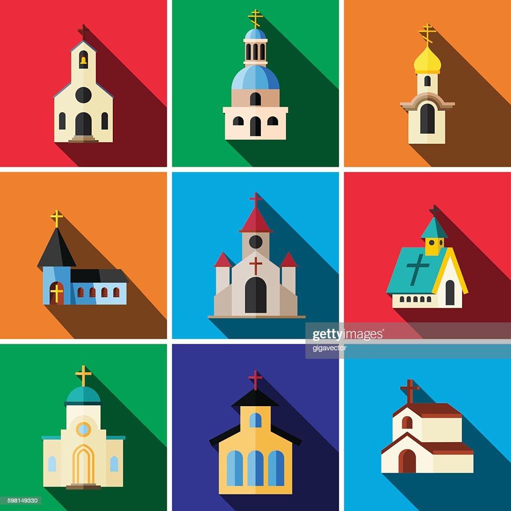Church flat icon set